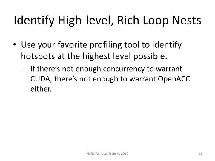 Identify High-level, Rich Loop Nests
