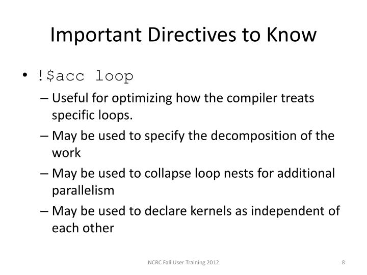 Important Directives to Know