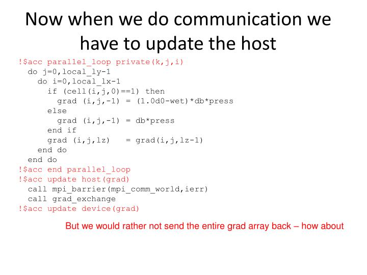 Now when we do communication we have to update the host