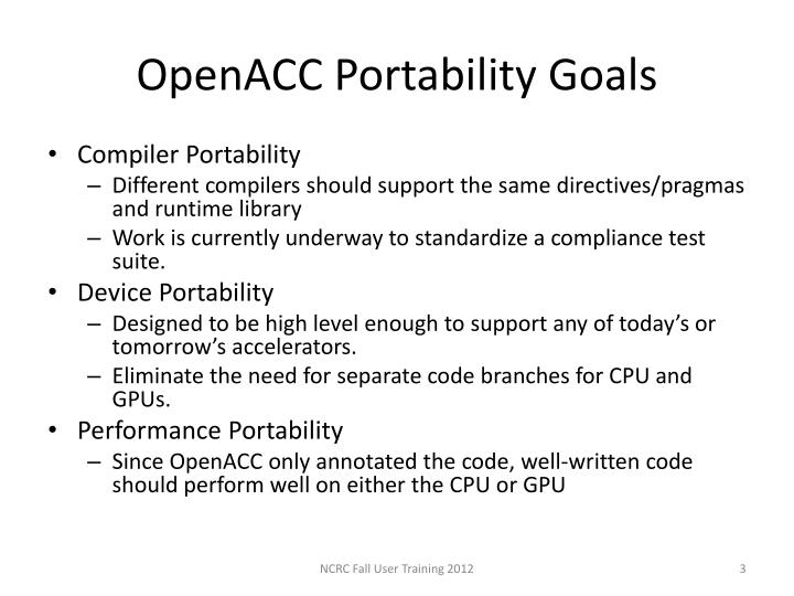 Openacc portability goals
