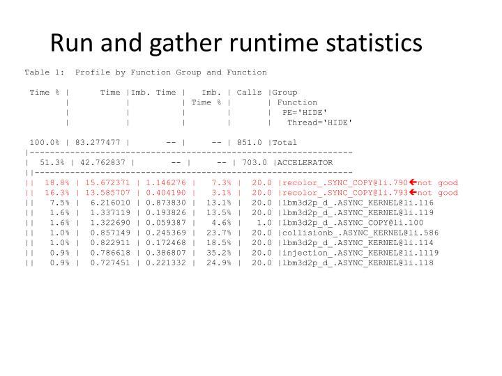 Run and gather runtime statistics