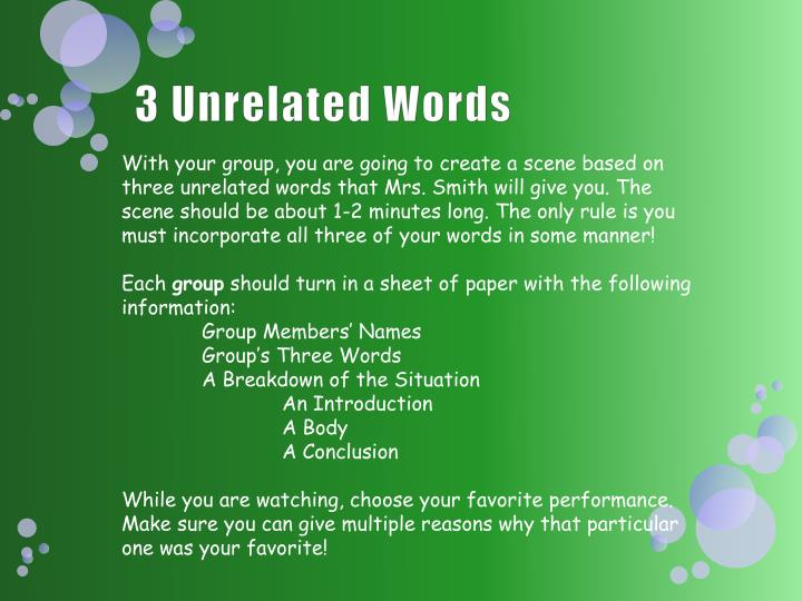 3 unrelated words