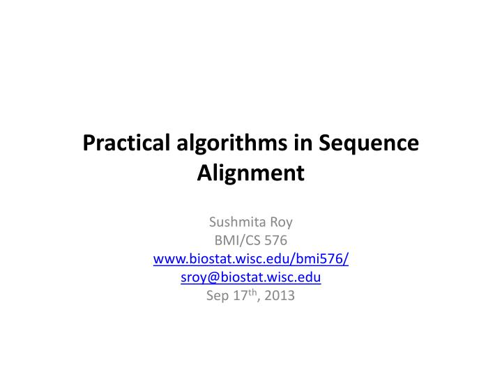 practical algorithms in sequence alignment n.