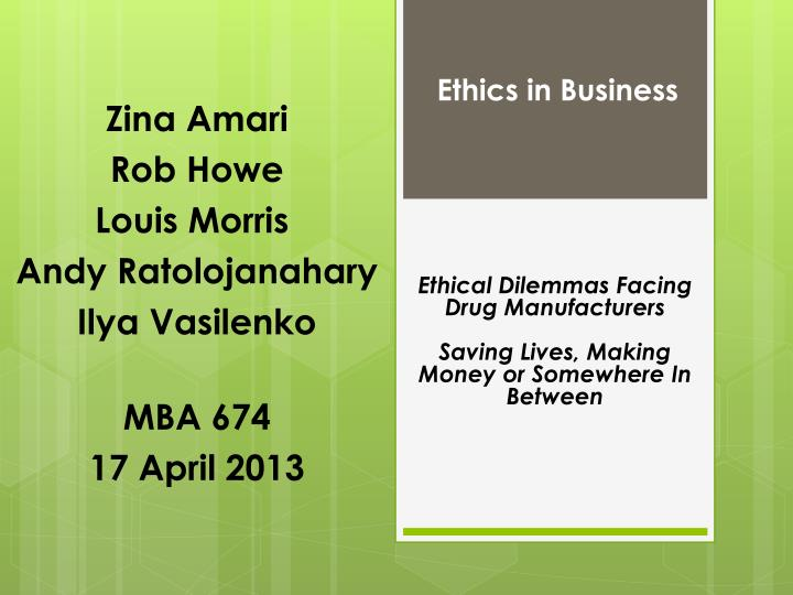 ethical dilemmas are everywhere in finance Corporate governance defines the people and the procedure that occurs when a company has to make a major decision the major decisions within mcdonald's would be made by the owners, and the higher ranked positions within the business.