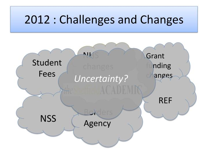 2012 challenges and changes