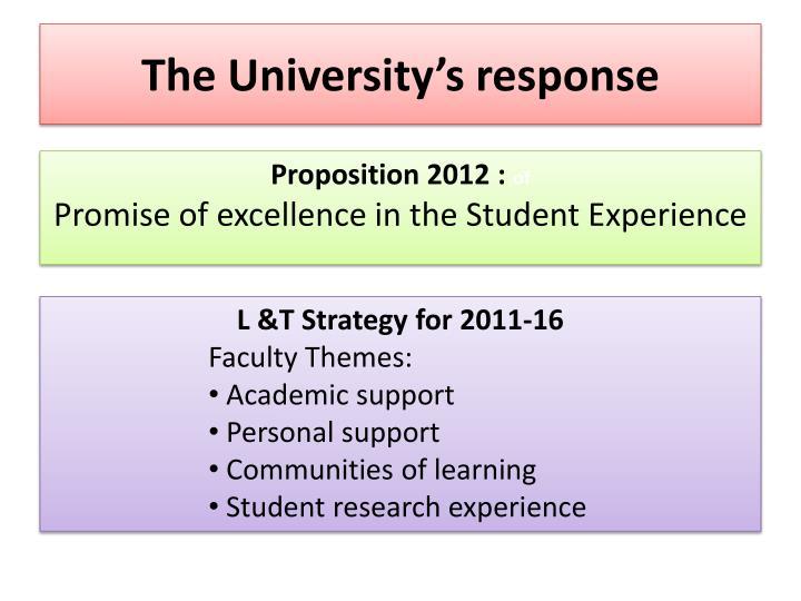 The University's response