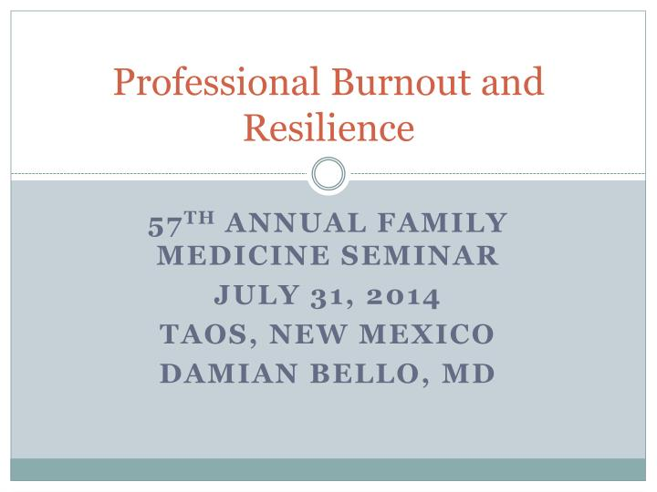 professional burnout and resilience n.