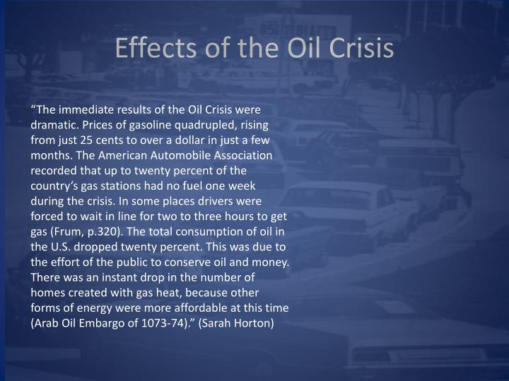 Effects of the Oil Crisis