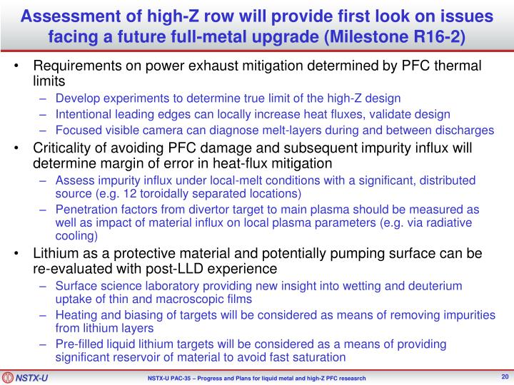 Assessment of high-Z row will provide first look on issues facing a future full-metal upgrade (Milestone R16-2)
