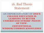 16 bad thesis statement