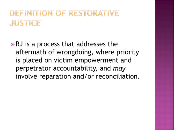 Definition of Restorative Justice