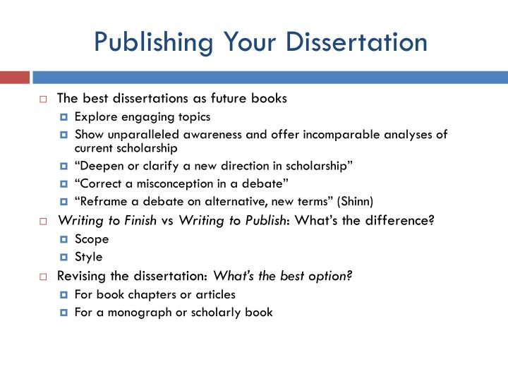 Publishing your dissertation