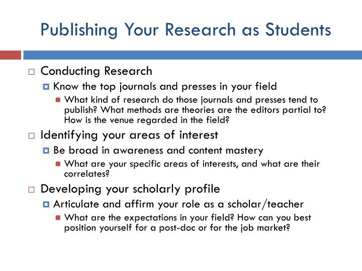 Publishing your research as students