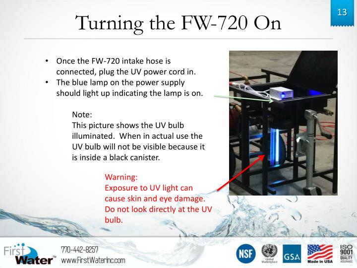 Turning the FW-720 On