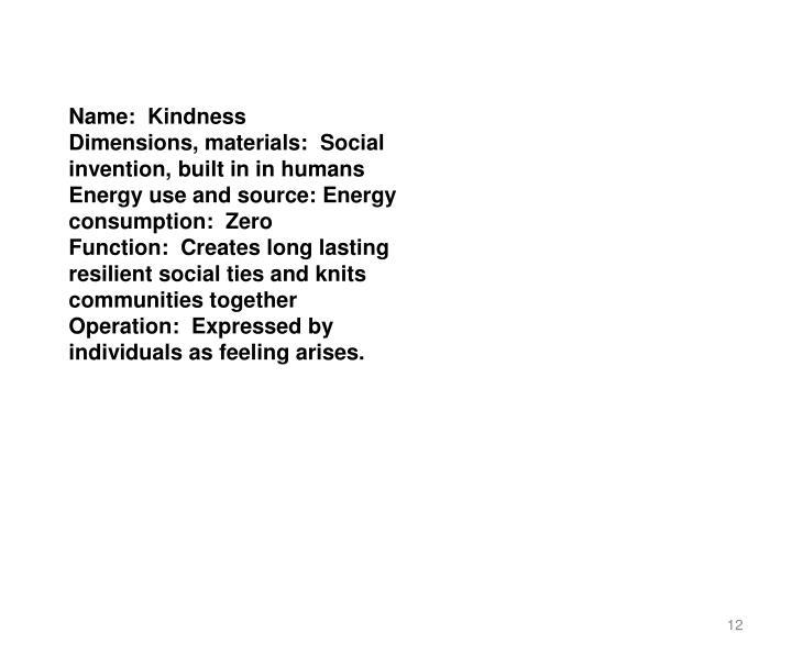 Name: Kindness