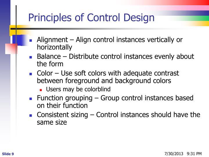 Principles of Control Design