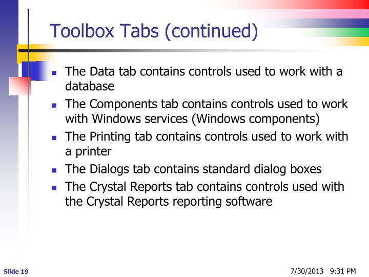 Toolbox Tabs (continued)