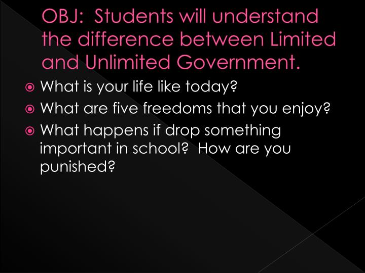 obj students will understand the difference between limited and unlimited government n.