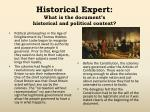 historical expert what is the document s historical and political context