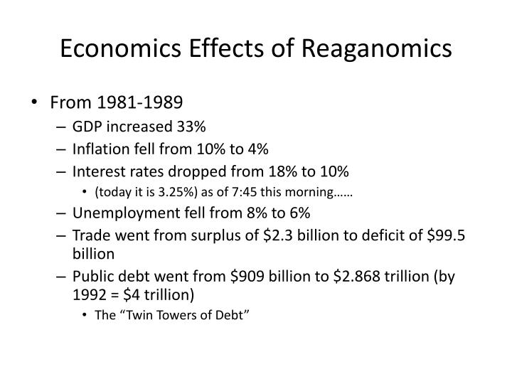 consequences reaganomics For reaganomics to be truly successful, america should be politically flexible enough to have to blame neither the fed for the domestic consequences nor japan for the international consequences of her own policy mix.
