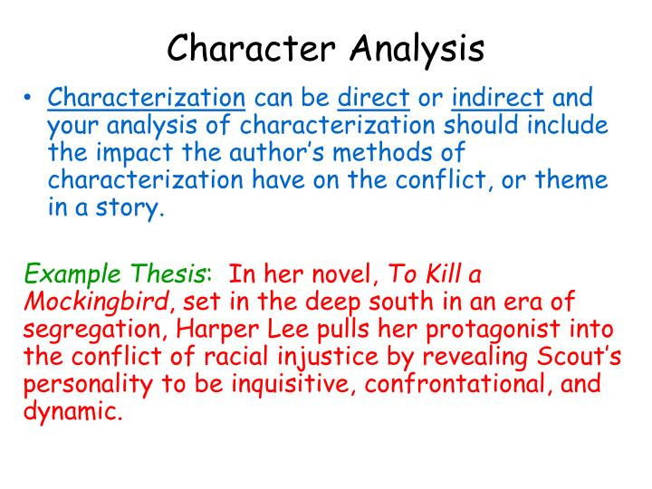 how to write a character analysis thesis