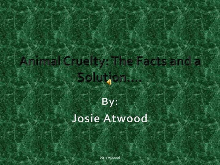 Animal cruelty the facts and a solution
