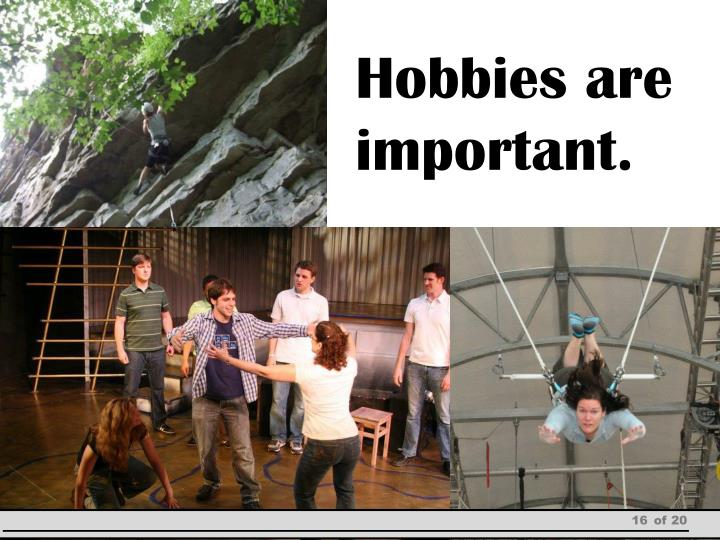 Hobbies are important.