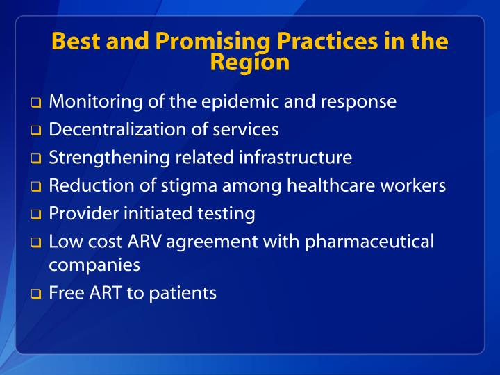 Best and Promising Practices in the Region