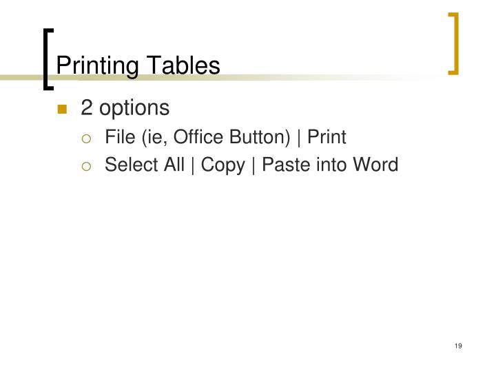 Printing Tables