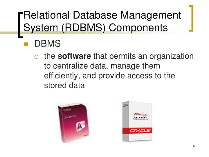 Relational Database Management System (RDBMS) Components