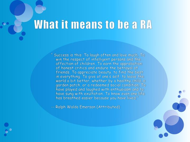 What it means to be a RA