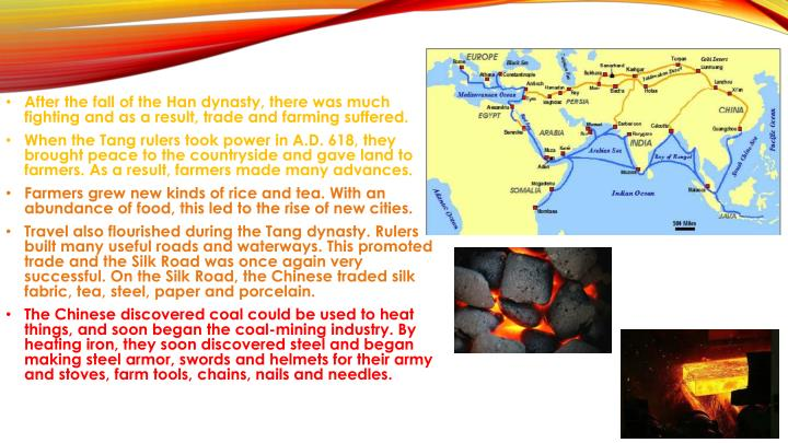 After the fall of the Han dynasty, there was much fighting and as a result, trade and farming suffered.