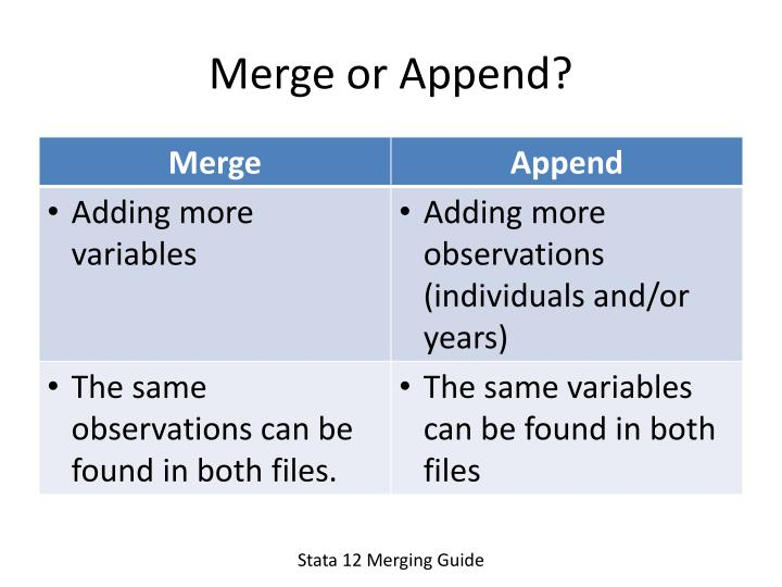 Merge or Append?