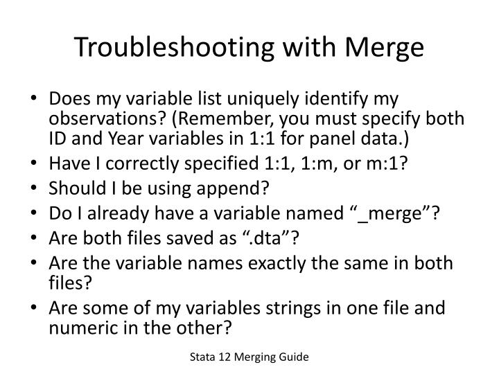 Troubleshooting with Merge