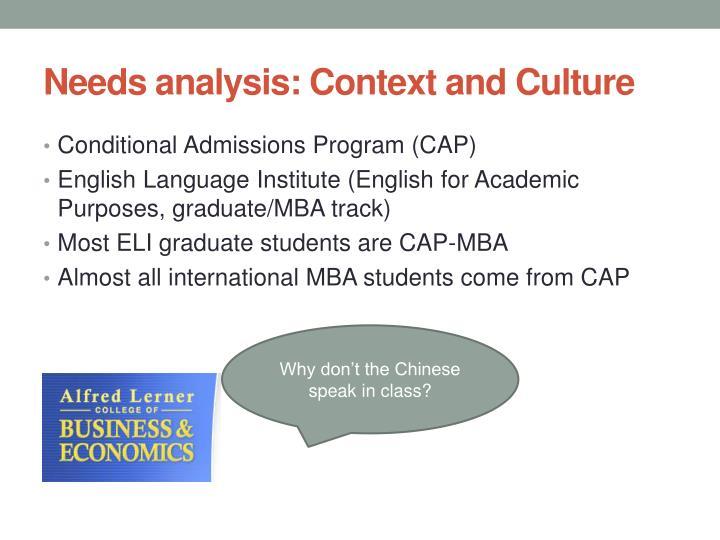 Needs analysis: Context and