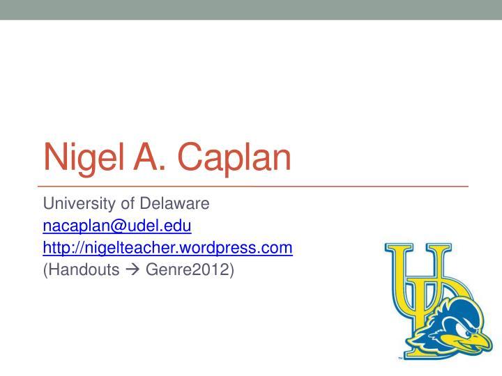 Nigel A. Caplan