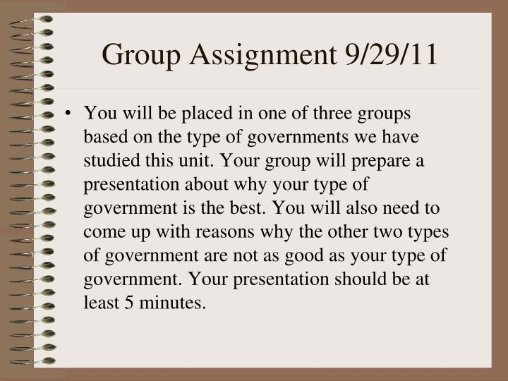 Group Assignment 9/29/11