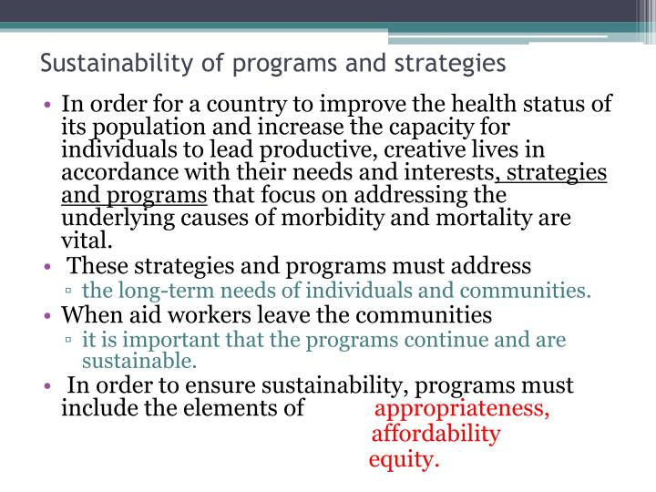 Sustainability of programs and strategies