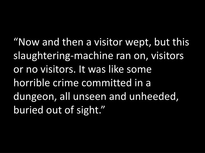 """""""Now and then a visitor wept, but this slaughtering-machine ran on, visitors or no visitors. It was like some horrible crime committed in a dungeon, all unseen and unheeded, buried out of sight."""""""