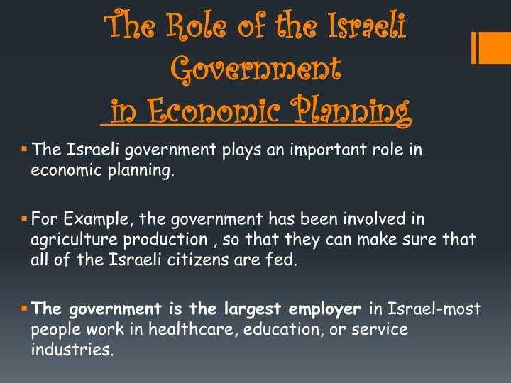 The Role of the Israeli Government