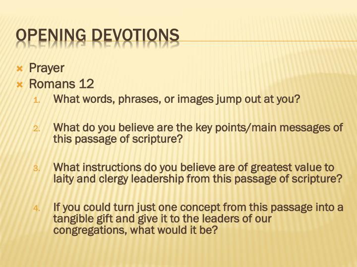 Opening devotions