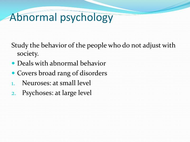 abnormal behaviour abnormal psychology essay Abnormal psych writing samples: abnormal the following section includes annotated samples of responses to exam questions - as well as strategies for answering questions based on the command terms.
