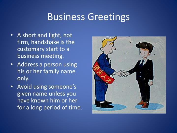 Business greetings