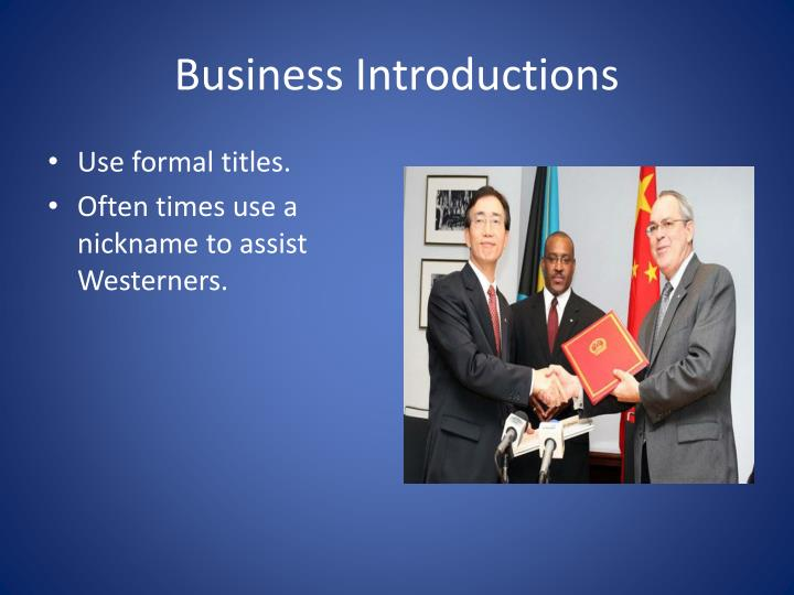 Business Introductions