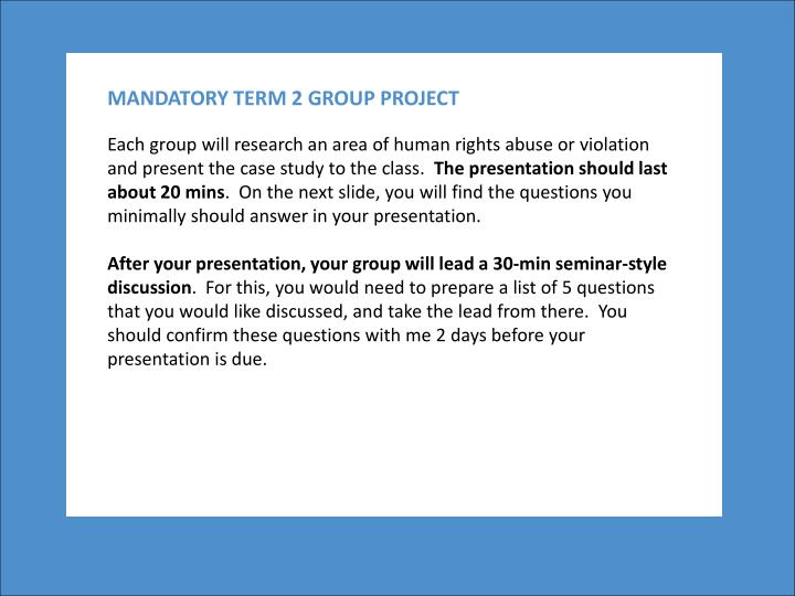 MANDATORY TERM 2 GROUP PROJECT