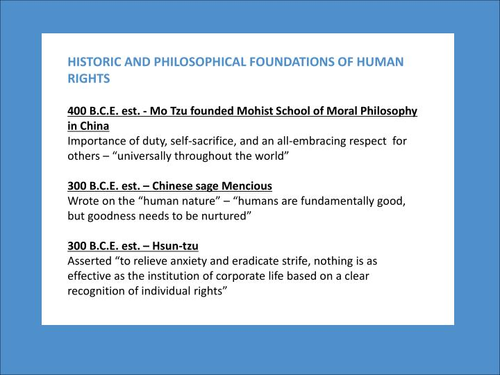 HISTORIC AND PHILOSOPHICAL FOUNDATIONS OF HUMAN RIGHTS