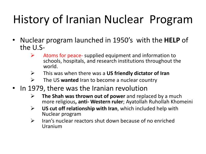History of iranian n uclear p rogram
