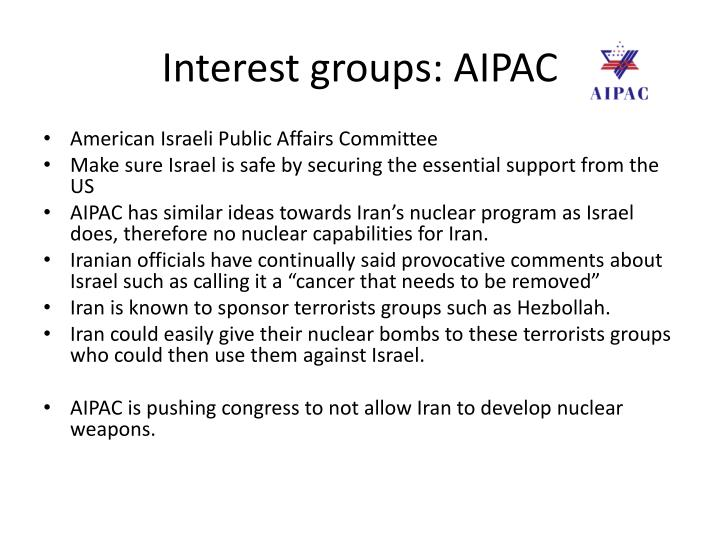 Interest groups: AIPAC