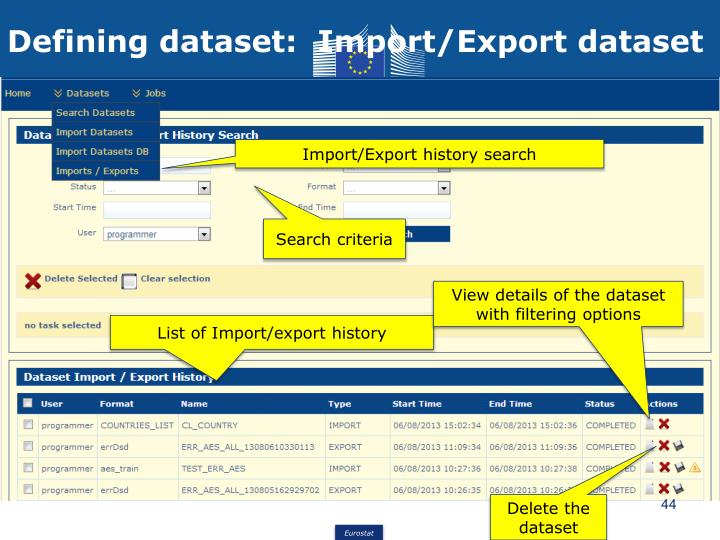 Defining dataset:  Import/Export dataset