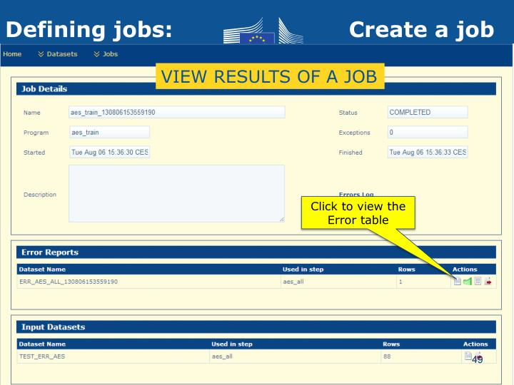 VIEW RESULTS OF A JOB